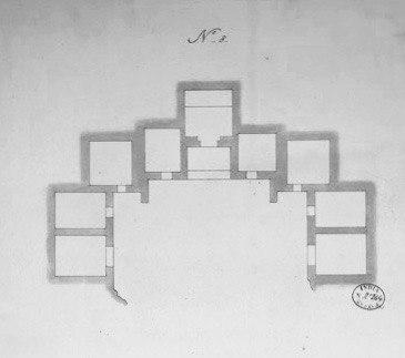 Ground Plan of Ajanta Cave 8, 1850 sketch