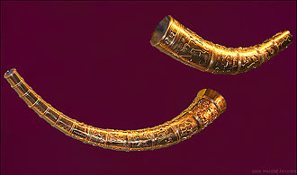 North Germanic peoples - The 5th century Golden Horns of Gallehus carry Proto-Norse inscriptions in Elder Futhark