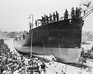 HMAS Swan (D61) - Swan being launched on 11 December 1915