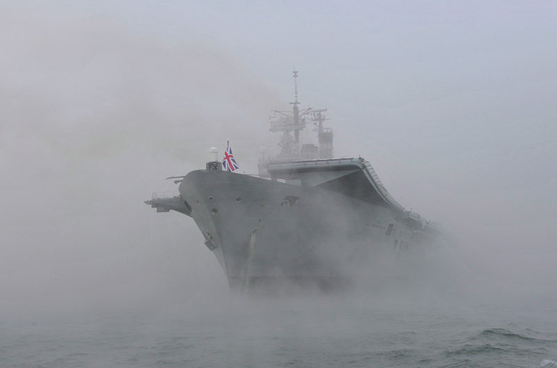 File:HMS Ark Royal Emerges from the Mist to Dock in Portsmouth for the Final Time MOD 45152133.jpg