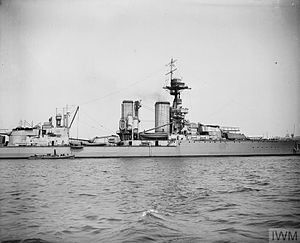 King George V-class battleship (1911) - Centurion at anchor, June 1919. The director is visible on the roof of the spotting top as are the flying-off platforms on 'B' and 'X' turrets