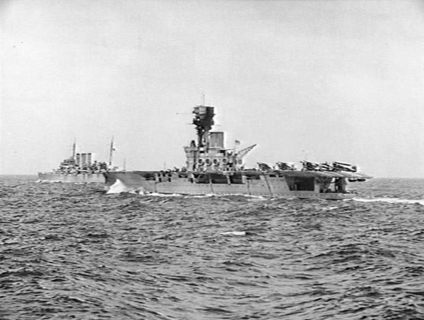 HMS Hermes as a convoy escort during the first year of wartime patrols. HMS Hermes June 1940.jpg