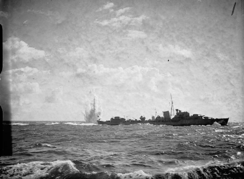 HMS Jaguar dropping depth charges 1940 IWM A868