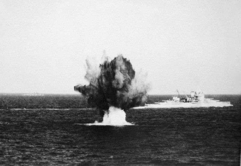 File:HMS Warspite under attack Med.JPG