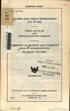 Brooke Amendment - Cover of the Housing and Urban Development Act of 1969