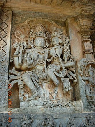 Hoysaleswara Temple - Siva and Parvathi relief at Hoysaleswara temple