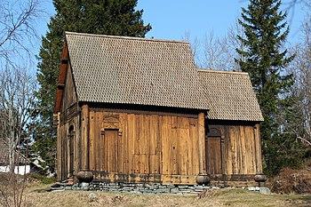 La iglesia de madera de Haltdalen, en Trondheim.