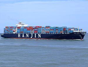 Hanjin Tianjin p5 approaching Port of Rotterdam, Holland 08-Jul-2007.jpg