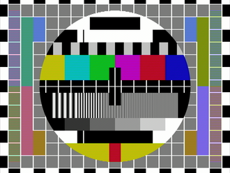 """Amateur television - Typical fast scan test card showing """"Hanover bars"""" (colour banding) effect in Pal S (simple) signal mode of transmission."""