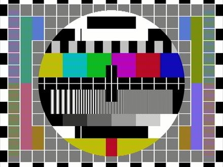 "Typical fast scan test card showing ""Hanover bars"" (colour banding) effect in Pal S (simple) signal mode of transmission. Hanoverbars without PAL delay.png"