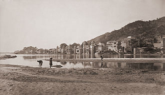 Har Ki Pauri - Har Ki Pauri and adjoining areas from opposite bank of the Ganges, 1866.