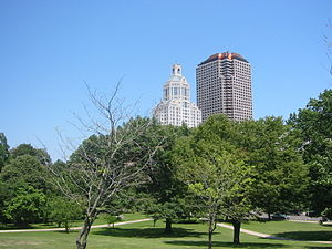 City Place I - City Place (right) viewed from Bushnell Park