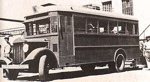 Arab–Israeli conflict - A Jewish bus equipped with wire screens to protect against rock, glass, and grenade throwing, late 1930s