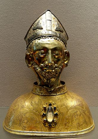 Martin of Tours - Reliquary for the head of St. Martin, silver and copper, part gilt, from the church at Soudeilles, late 14th century, Louvre