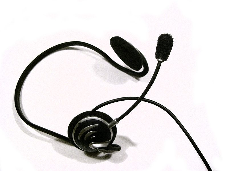 File:Headphones with Microphone.jpg
