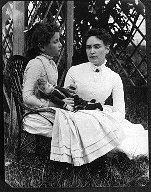 New England Historic Genealogical Society - This photograph was discovered in the NEHGS collections. The July 1888 photo shows 8-year-old Helen Keller with her teacher Anne Sullivan vacationing on Cape Cod.