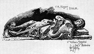 Earl of Pembroke - Herbert Railton's illustration of the Earl of Pembroke's tomb