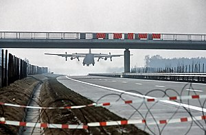 Highway strip - A C-130 Hercules lands on the A29 Autobahn near Ahlhorn during military exercise 'Highway 84'