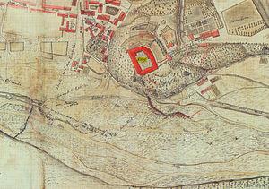 Herzberg Castle - Herzberg and its castle in 1753