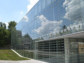 Hespeler, Ontario - The Hespeler Library was retrofitted by installing a glass enclosure around the historic Carnegie building.
