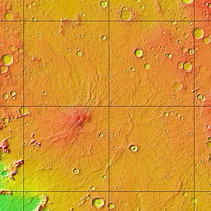 Hesperian - MOLA colorized relief map of Hesperia Planum, the type area for the Hesperian System. Note that Hesperia Planum has fewer large impact craters than the surrounding Noachian terrain, indicating a younger age. Colors indicate elevation, with red highest, yellow intermediate, and green/blue lowest.