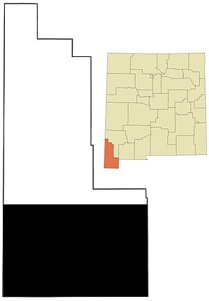 New Mexico Bootheel - Location of the Bootheel of New Mexico within Hidalgo County, and the location of Hidalgo County within the State of New Mexico.