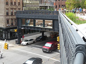 High Line - Urban theater at Tenth Avenue and 17th Street: a window over the avenue provides unusual views