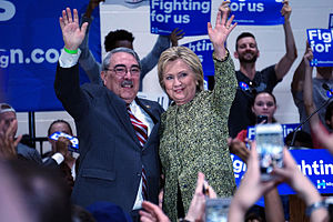 G. K. Butterfield - Butterfield and Hillary Clinton at Hillside High School in Durham, North Carolina, March 2016