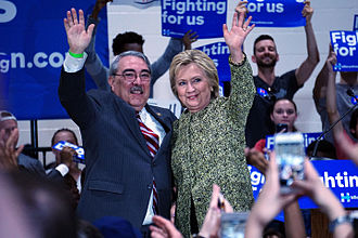 G. K. Butterfield - Butterfield and Hillary Clinton at Hillside High School in Durham, North Carolina, March 2016