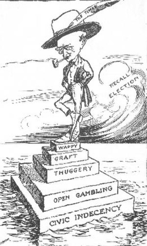 "Hiram Gill - ""Where Gill Proudly Stands"", 1911 cartoon by ""Hop"" in the Seattle Post-Intelligencer"