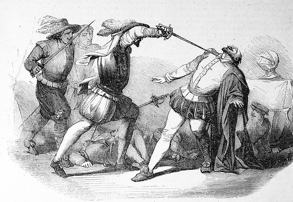 Asesinato de Francisco Pizarro a manos de los almagristas, según un grabado del siglo XIX. Una versión muy extendida atribuye a Rada la estocada mortal en la garganta que acabó con la vida del marqués gobernador.