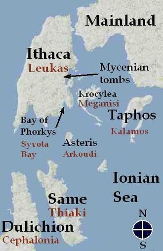 Same (ancient Greece) - Map of Homer's Ithaca according to Dörpfeld's theory