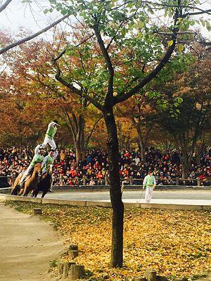 Korean Folk Village - Horseback martial arts at Korean Folk Village