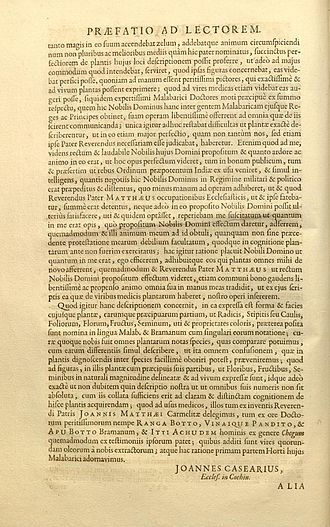 Hortus Malabaricus - A Preface page, in which names of Carmelite Father Joannis Matthaei, the Brahmin physicians Ranga Bhat, Vinayaka Pandit, and Appu Bhat and the Ayurveda vaidya (Ayurveda practitioner)  Itti Achuden are mentioned.