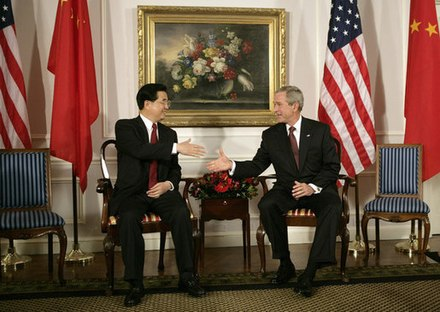 President Bush with China's president and Communist Party leader Hu Jintao, 2006 Hu Jintao Bush.jpg