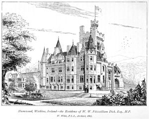 Humewood Castle - Engraving of Humewood Castle from Charles Eastlake's A History of the Gothic Revival