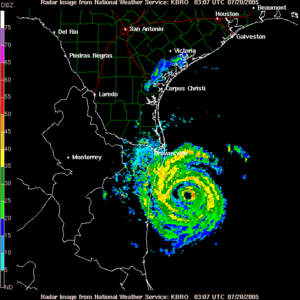 Hurricane Emily (2005) - Hurricane Emily, as seen by the US National Weather Service's NEXRAD in Brownsville, Texas at 03:07 UTC July 20. The storm's eye is clearly visible, surrounded by the strong storms of the eyewall. At imaging time, Emily was a Category 3 hurricane with 125 mph (205 km) winds, was moving west-northwest at 7 mph (11 km/h), and was roughly 100 miles (160 km) away from the location of landfall.