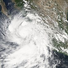Hurricane John weakening on August 31, 2006