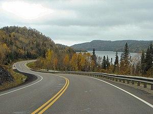 Ontario Highway 101 - Highway 101 at Wawa Lake