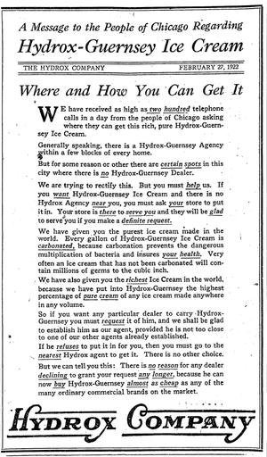 William Wilson Talcott - February 1922 advertisement for Hydrox-Guernsey Ice Cream