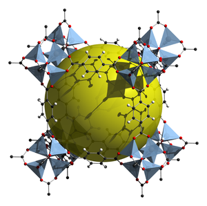 Clathrate compound - Example of Metal organic framework, MOF-5, the cavity for the guests is indicated by the yellow sphere.
