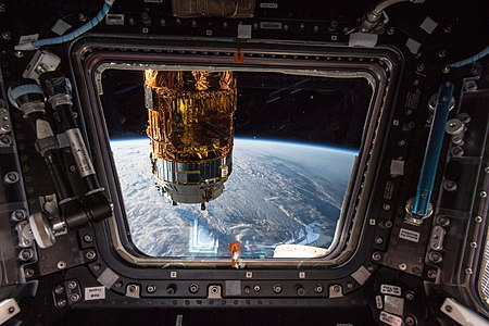 The H-II Transfer Vehicle-7 (HTV-7) on the ISS.