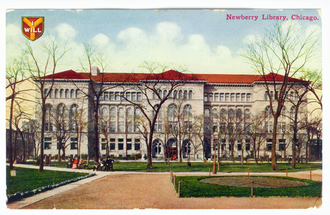Newberry Library - Library from Washington Square on a c. 1910 postcard