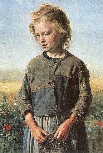 Social realism - Ilya Repin, Beggar (Fisher Girl). 1874.