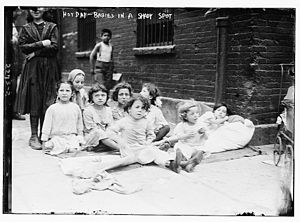 1911 Eastern North America heat wave - Children seeking shade during the July 4, 1911, heat wave in New York City