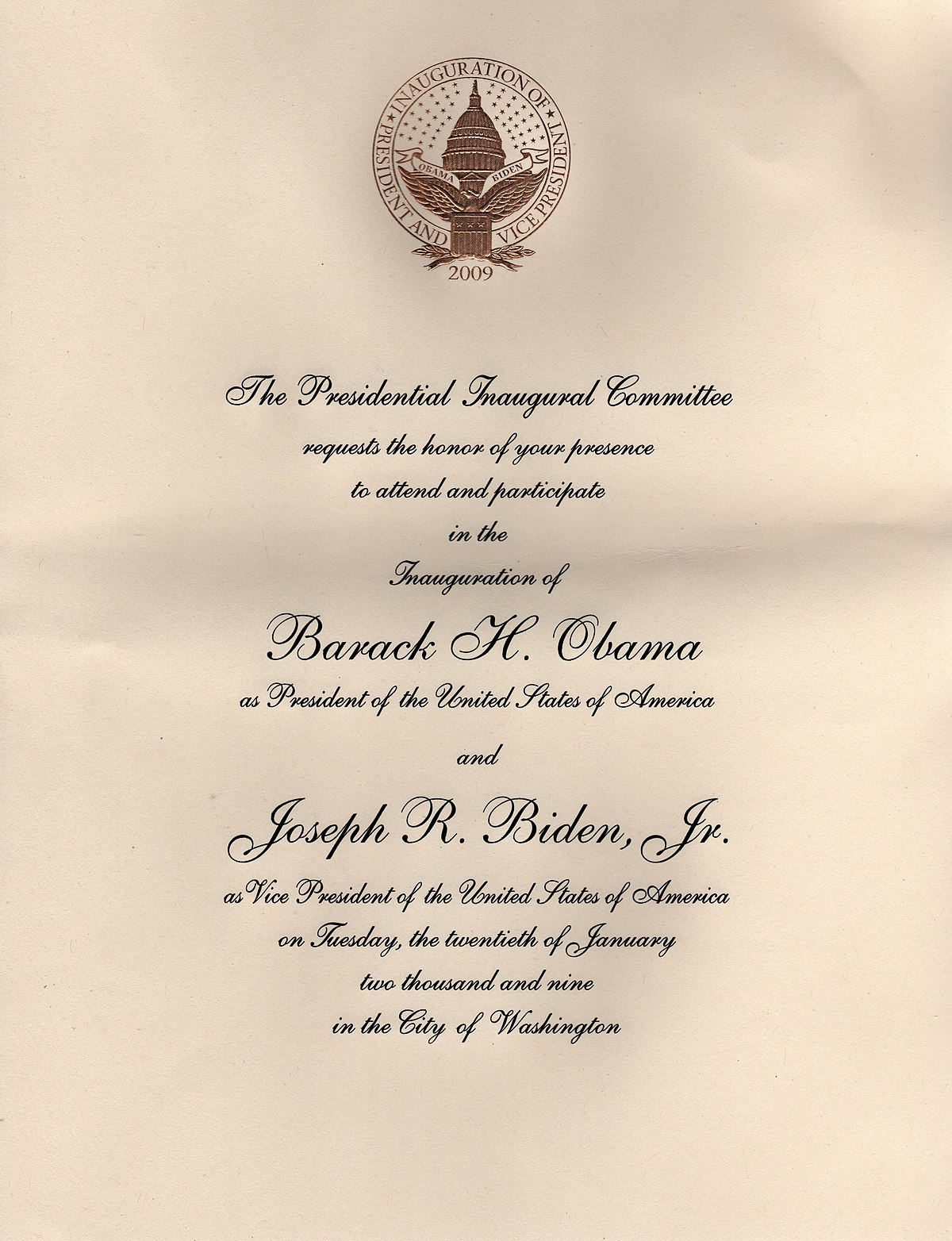 Invitations To The First Inauguration Of Barack Obama