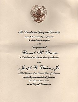 Cream colored with black cursive print invitation to the inauguration of Barack Obama with a gold inauguration logo at the top