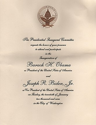 First inauguration of Barack Obama - One of the one million public invitations to the inaugural ceremony of Barack Obama