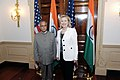 Indian Finance Minister Pranab Mukherjee with US Secretary of State Hillary Clinton.jpg