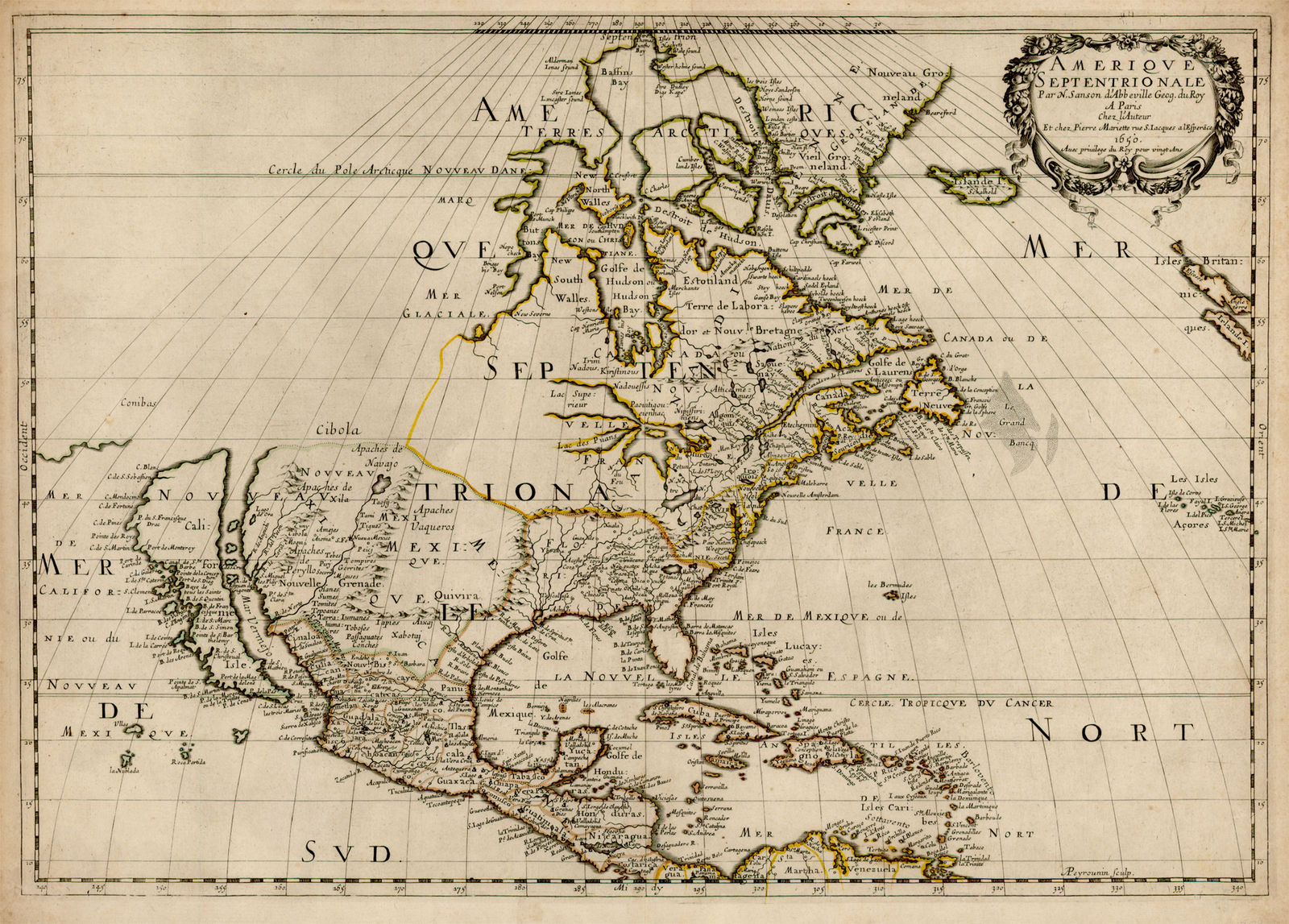 "Much of New France's ""Pays d'en Haut"" (Upper Country) remained unexplored in the mid-1600s; Nicolas Sanson d'Abbbeville's 1650 map was the first to show all five Great Lakes.[82]"